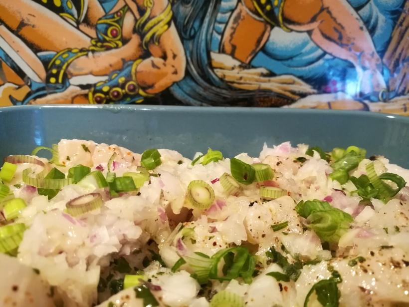 Ceviche de flétan ou cabillaud - régime sans sel - poisson cru - BouffePorn