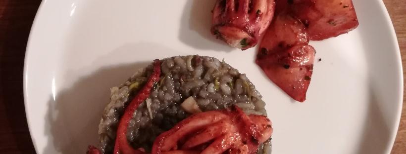 recette bouffeporn Rissotto à l'encre de seiche et aux encornets et aux poireaux