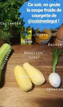 LEs ingrédients pour Soupe froide de courgettes à la coriande - BouffePorn